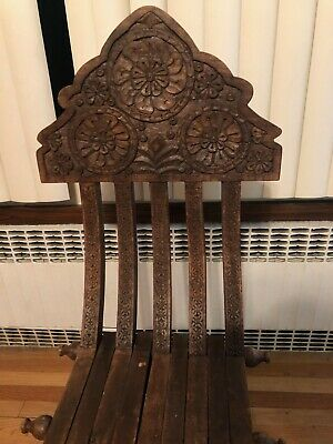 Beautiful Moroccan Hand Carved Art Antique Folding Chair