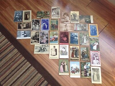 Vintage Lot of Victorian Style Men and Women Postcards Early 1900's
