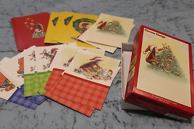 Vtg Curious George Christmas Card Set of 22 Cards Presents Lights Santa