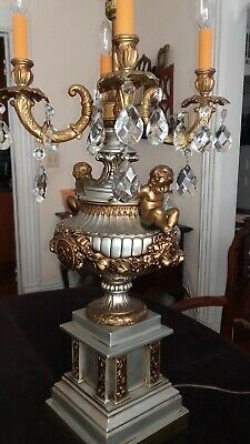 "Beautiful Vintage 42"" crystal and brass Hollywood Regency table lamp"