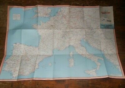 1950s vintage Europe paper map from Overland Tours, 25 miles: 1cm, cover marked