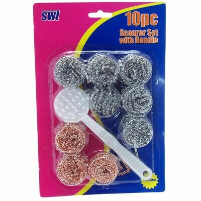 10 x WHOLESALE   Steel Wire Ball Brush With Long Handle Scourer Cleaning Brush
