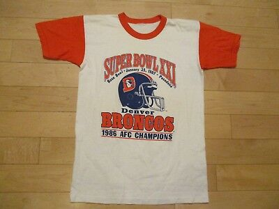 Vtg 80s Denver Broncos Ringer T-Shirt Single Stitch Men's Small Medium EXCELLENT
