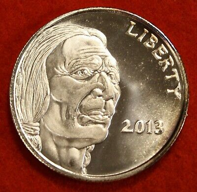 2013 INDIAN/BUFFALO DESIGN 1 oz .999% SILVER ROUND BULLION COLLECTOR COIN GIFT