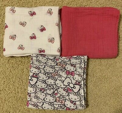 Aden and Anais Hello Kitty Set of 3 Swaddles