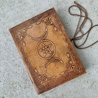 Handmade Brown Leather Journal Celestial Sun Triple moon phase crescent notebook