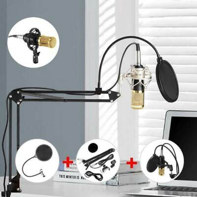 BM-800 Condenser Microphone Kit Mic Suspension Scissor Arm Stand+Clip+Pop Filter