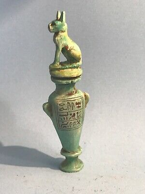 Ancient Egyptian Vessel W/hieroglyphics & Bastet Top