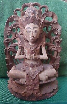 Unique Hand Carved Wood Bali Goddess Statue