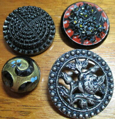 """Antique Lot of 4~""""PAINTED BLACK GLASS & ROSE"""" Pierced-Ball Vintage Buttons"""