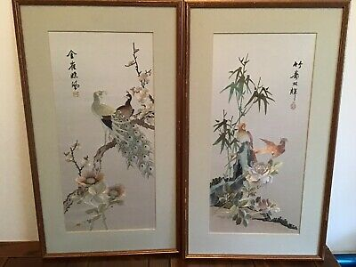 Pair Of Oriental Silk Pictures  Chinese / Japanese Silk Pictures
