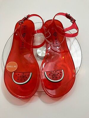 e4e4d9a2e761 Katy Perry The Geli Watermelon Scented Sandals Red Novelty Flat Shoe size 9
