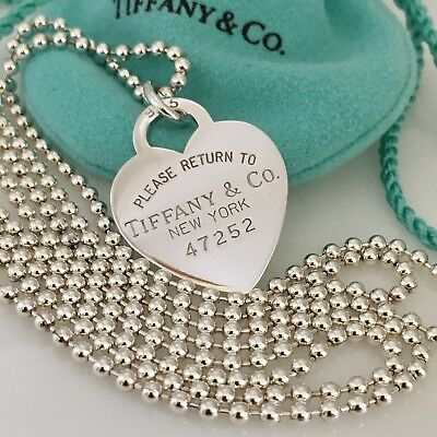 Please Return to Tiffany & Co Sterling Silver Heart Tag Bead Dog Chain Necklace