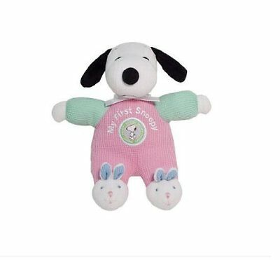 RARE! MINT!  Peanuts My First Snoopy (PINK) w Bunny Feet -  Rattle in Tummy -NWT