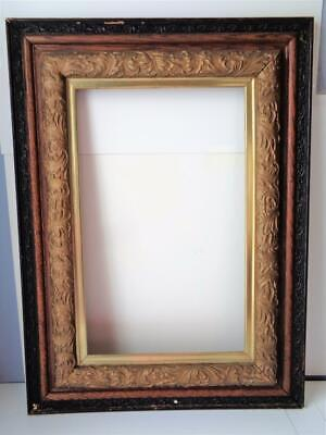 """Large Antique Victorian Wood Picture Frame Mission Arts Crafts for 21"""" x 12"""" Art"""