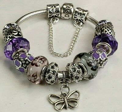 Authentic Pandora Bracelet with Murano Glass Charms, Comes in Gift Box, Nice!