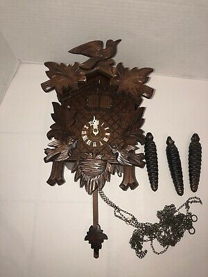 Vintage German Musical Cuckoo Clock  Hand Carved Black Forest Germany