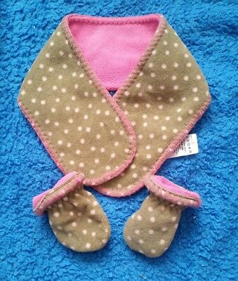 Next 3-6 Months Scarf Mittens Brown Pink Spots Fleece Vgc
