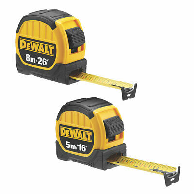 "DeWalt 5m / 16' and 8m / 26"" Tape Measures new 2019 cm / in"