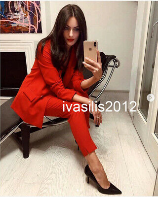 657af4c1 ZARA WOMAN RED High Rise Creased Wide Leg Trousers Small NEW NWT ...