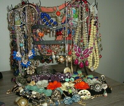 Huge Lot Of Vintage To Now Jewelry, Sterling, Cameo, Rhinestones, Some Signed