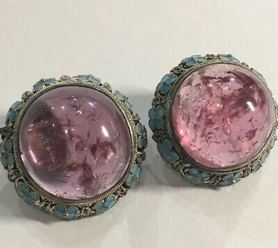 Amazing Vintage Very Large Pink Tourmaline, Sterling and Enamel Earrings.