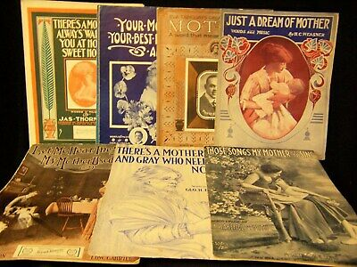 Lot of 12 Vintage Large Format Mother Theme Sheet Music 1906 to 1925