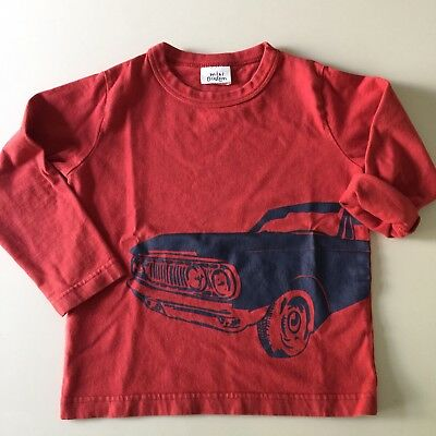 "MINI BODEN Awesome Red-Orange ""CAR"" Long Sleeve Shirt. Size 2-3 years. So Comfy!"