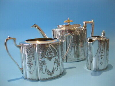 Beautiful Quality Antique Silver Plated Victorian Engraved 3 Piece Tea Service