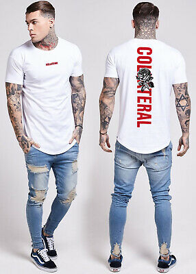 Mens Collateral Back Print Longline Curved Hem Fitted T Shirt Summer Tees Tops