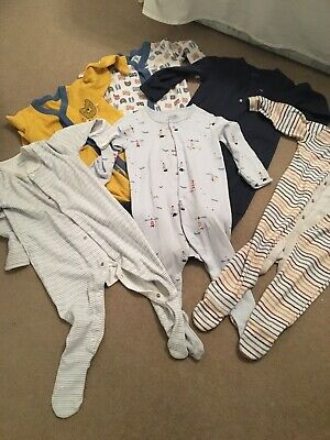 Bundle Of 6 Baby Boys Sleepsuits Babygrows. 9-12 Months. Excellent Condition.