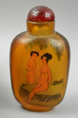 Collectable Handwork Decor Old Agate Inner Painting Classical Belle Snuff Bottle