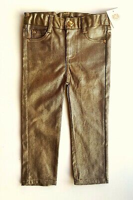 Baby JUICY COUTURE Girls  ANTIQUE GOLD Denim Jeans Trousers 6-18m £52