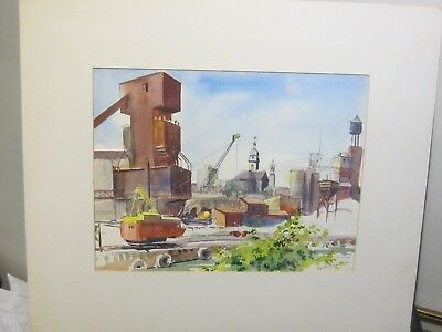 Original Watercolour From the Bridge Chicago U.S.A. by Nicolette Atwood 1974