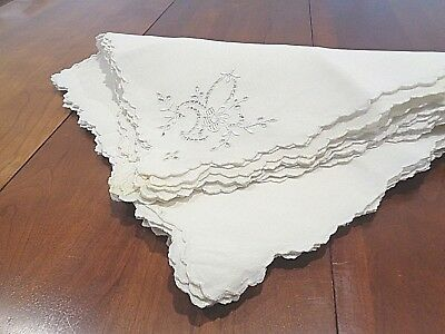 """Collection of 11 Antique matched 100% linen napkins 12"""" square"""