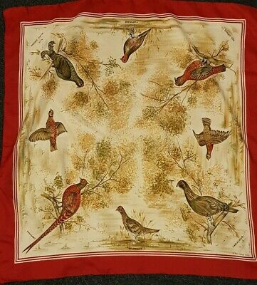 "Vintage Scarf Pheasant game birds. 26"" Square red 1970s GLEN APPIN REG.D"