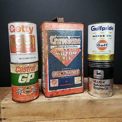 LOT OF VINTAGE Antique Motor Oil Can Cans Travelene Gulf Castrol Quart Gallon