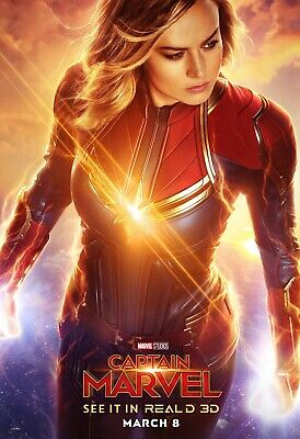 Captain Marvel Movie Poster (24x36) - Brie Larson, Jude Law, Carol Danvers v4