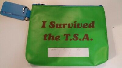 """Flight 001 """"I Survived the T.S.A."""" Green Travel TSA Pouch Cosmetic Bag NWT"""