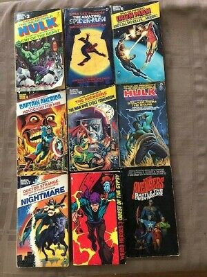 Lot of 9 60's 70's Soft Cover Books - HULK AVENGERS SPIDER-MAN IRON MAN AMERICA