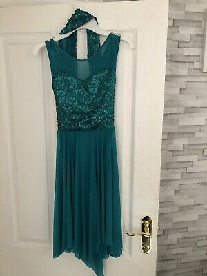 1e65c5f9d 1ST POSITION TEAL Green Sequin Lace Crop Sleeved Lyrical Dance Dress ...