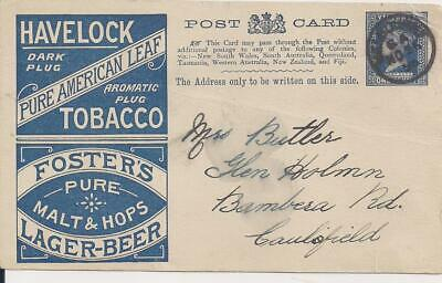 Victoria 1895 stationary pc 1 d with BEER&TOBACCO advert, used