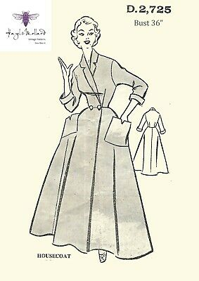 """Vintage 1950's Sewing Pattern Women's Housecoat Robe Dressing Gown Bust 36"""""""