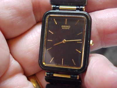 Used Nice Black And Gold Seiko Watch For Women 7320-2024 Super Thin Model