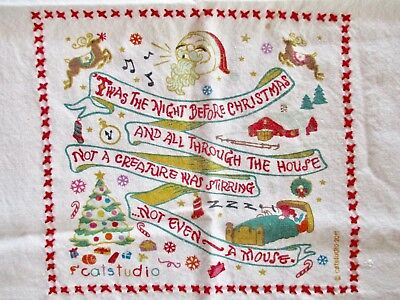 "RARE-Vintage CAT STUDIO 2011""TWAS THE NIGHT BEFORE CHRISTMAS""Dish Towel-21""x27"""