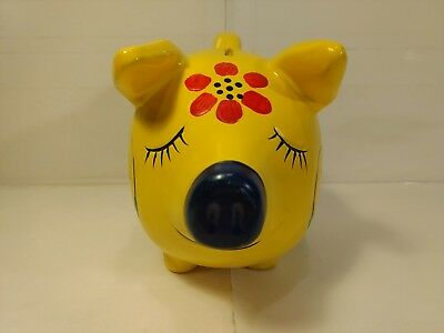Vintage Yellow Pig With Red Flowers Coin Piggy Bank    hd957