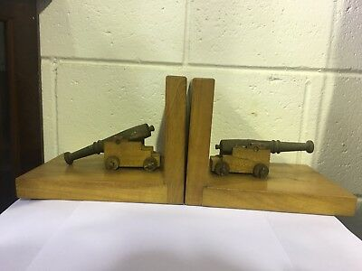 Brass Canon Wooden Vintage Book Ends Decorative