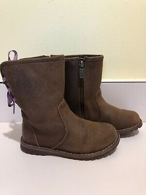 3fe0189580f UGG GIRLS CORENE Boot - Purple with Pink Ribbon - Toddler Size 9 ...