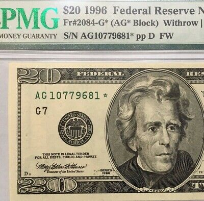 1996 $20 Chicago * Star * 🌟 Frn, Pmg Choice About Uncirculated 58 Epq Banknote