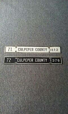 Vintage 1971 & 72 Culpeper County, Va. License Plate Toppers